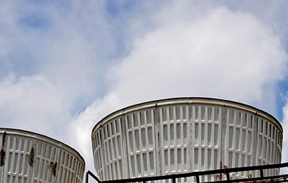 Round cooling tower stacks
