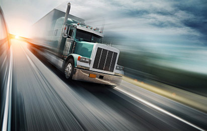 Truck on highway with motion blur lines